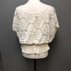 d4b493b8dd1a5 Elan Tops - Elan Cream lace top